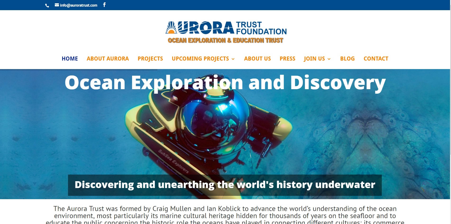 Aurora Trust Foundation Mediterranean Shipwrecks Ocean Exploration Education Trust