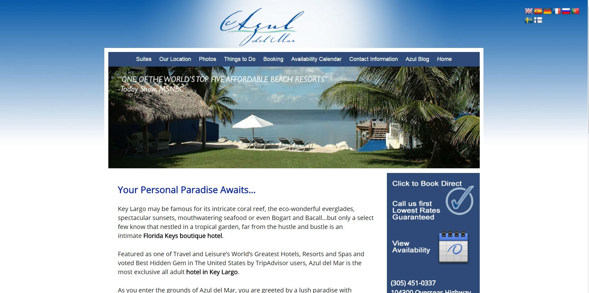 Azul Del Mar Exclusive Hotel in Key Largo in the Florida Keys